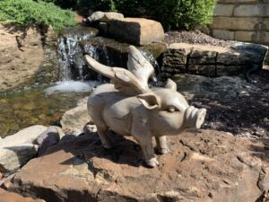 LivingWell's flying pig by the fountain